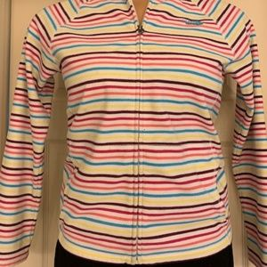 Girls multi-colored striped Northface jacket
